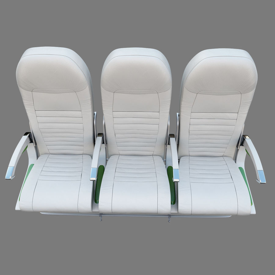 Economy Class Airplane Seat royalty-free 3d model - Preview no. 7