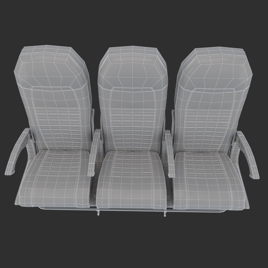 Economy Class Airplane Seat royalty-free 3d model - Preview no. 10