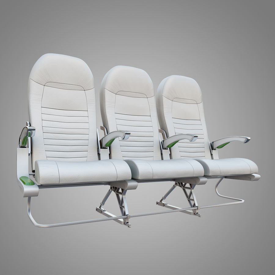 Economy Class Airplane Seat royalty-free 3d model - Preview no. 2