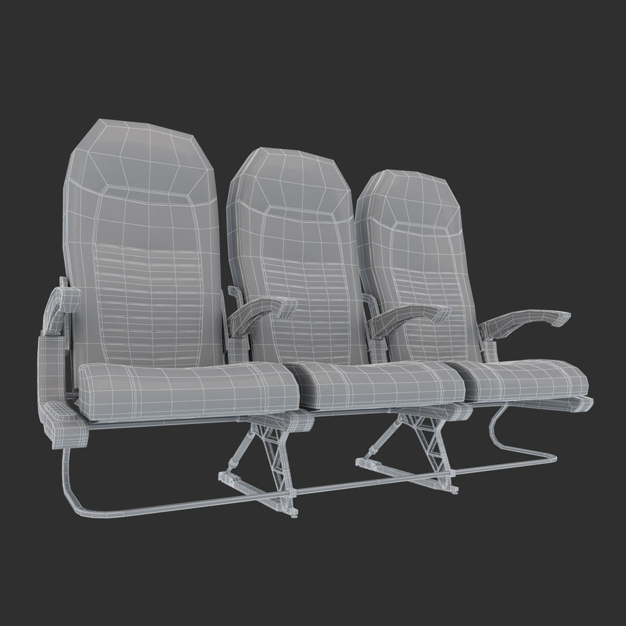 Economy Class Airplane Seat royalty-free 3d model - Preview no. 8