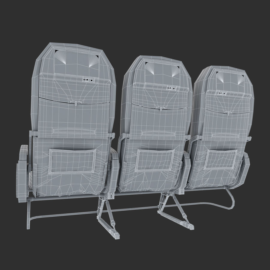 Economy Class Airplane Seat royalty-free 3d model - Preview no. 9