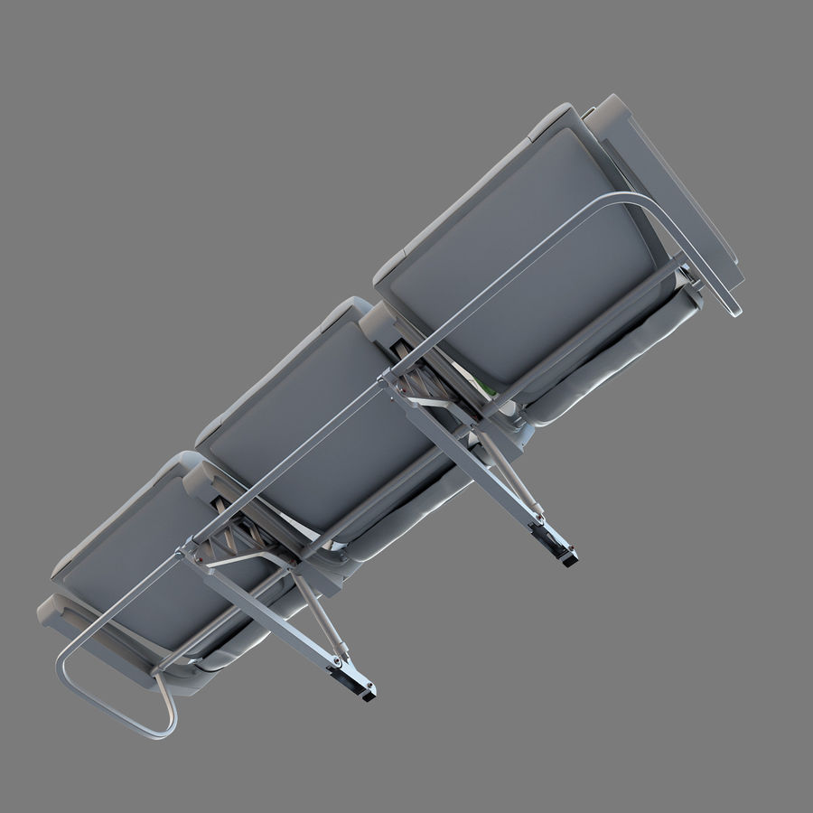 Economy Class Airplane Seat royalty-free 3d model - Preview no. 11