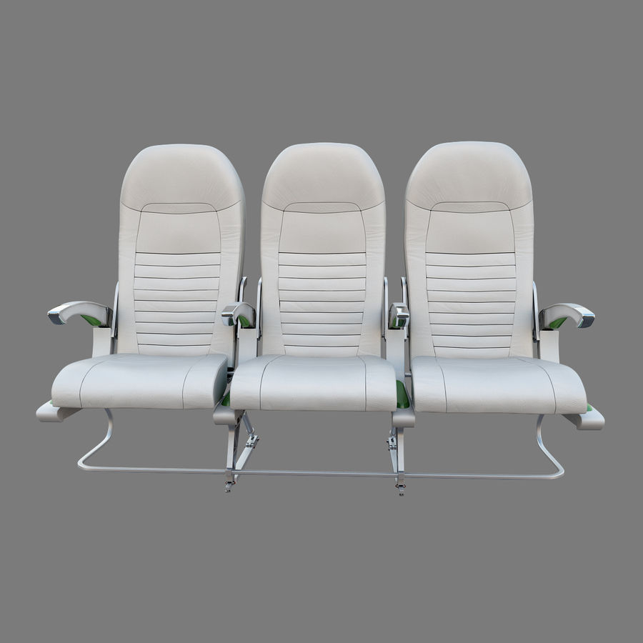 Economy Class Airplane Seat royalty-free 3d model - Preview no. 5