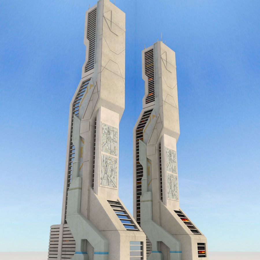 Sci Fi Futuristic Building royalty-free 3d model - Preview no. 4