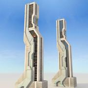 Edificio futurista de ciencia ficción modelo 3d