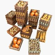 Wooden Pastry Crates Organized Pile baker bakers bakery 3d model