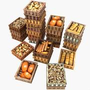Caisses à Pâtisserie En Bois Organisées Pile Boulanger Boulangerie Boulangerie 3d model