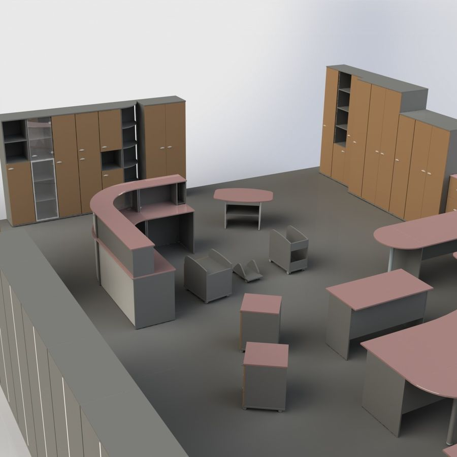 Office Furniture 001 royalty-free 3d model - Preview no. 22