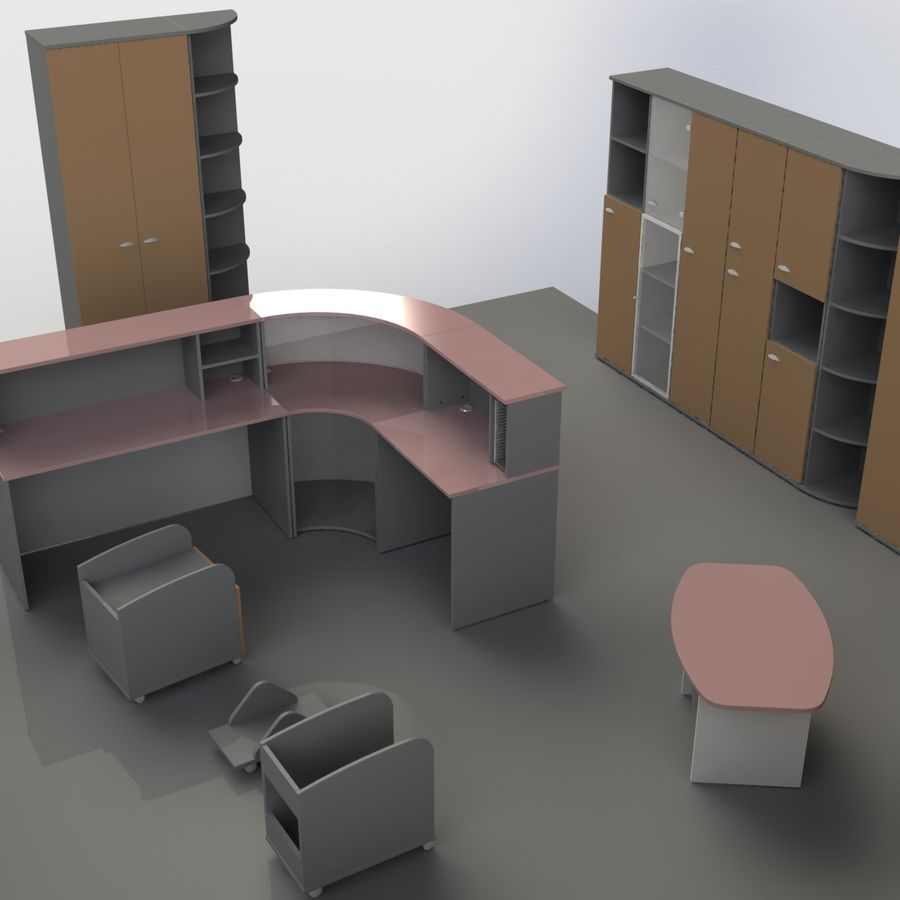 Office Furniture 001 royalty-free 3d model - Preview no. 8