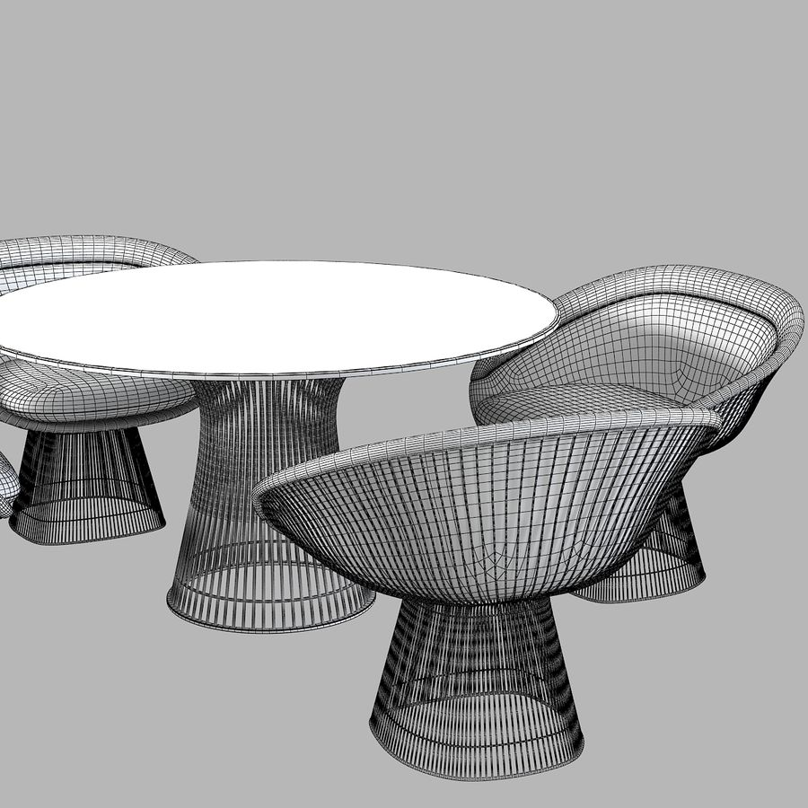 Planter Dining Table & Chair Set royalty-free 3d model - Preview no. 7