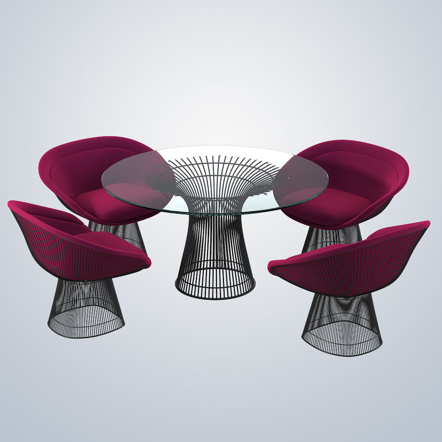 Planter Dining Table & Chair Set royalty-free 3d model - Preview no. 2