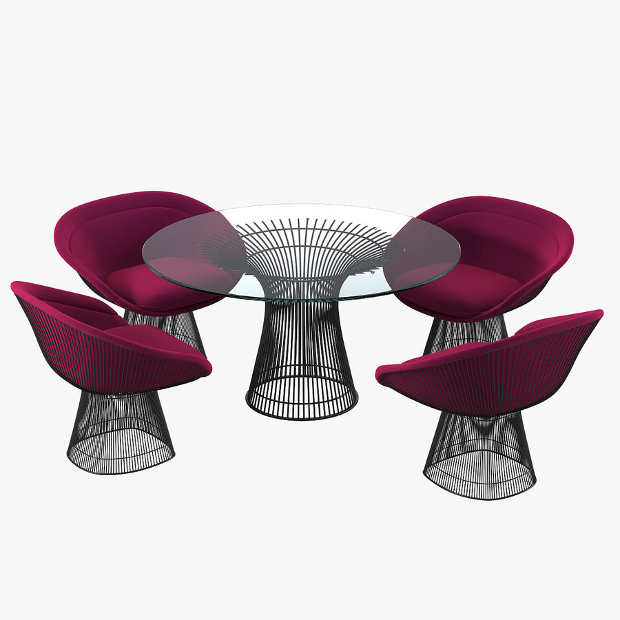Planter Dining Table & Chair Set royalty-free 3d model - Preview no. 1