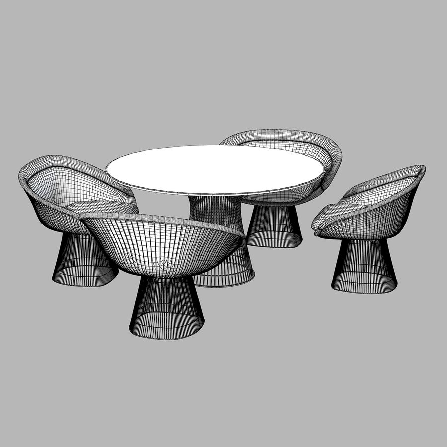 Planter Dining Table & Chair Set royalty-free 3d model - Preview no. 6