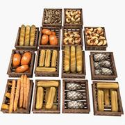 Wooden Pastry Crates Baker Bakers Bakery 3d model