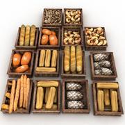木製のペストリー箱パン屋パン屋パン屋 3d model