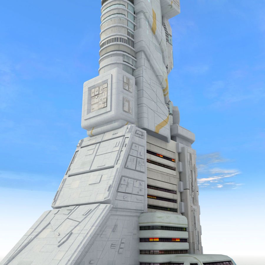 Sci Fi Building Futuristic Tower royalty-free 3d model - Preview no. 5