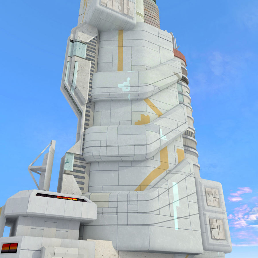 Sci Fi Building Futuristic Tower royalty-free 3d model - Preview no. 7
