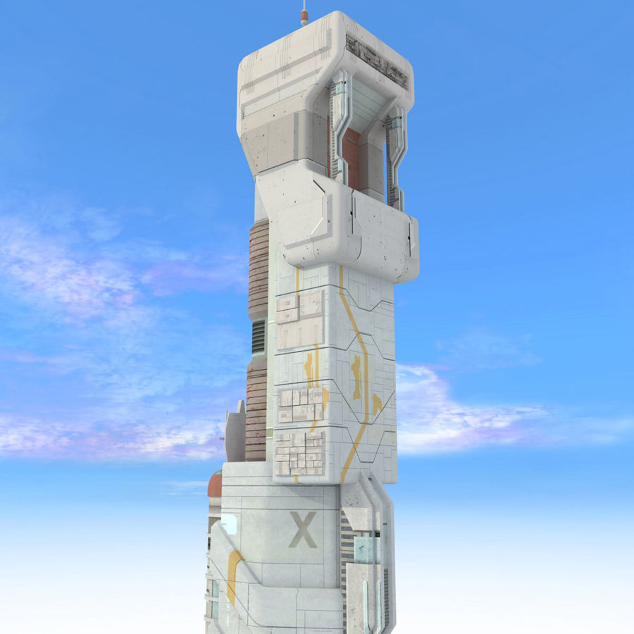 Sci Fi Building Futuristic Tower royalty-free 3d model - Preview no. 8