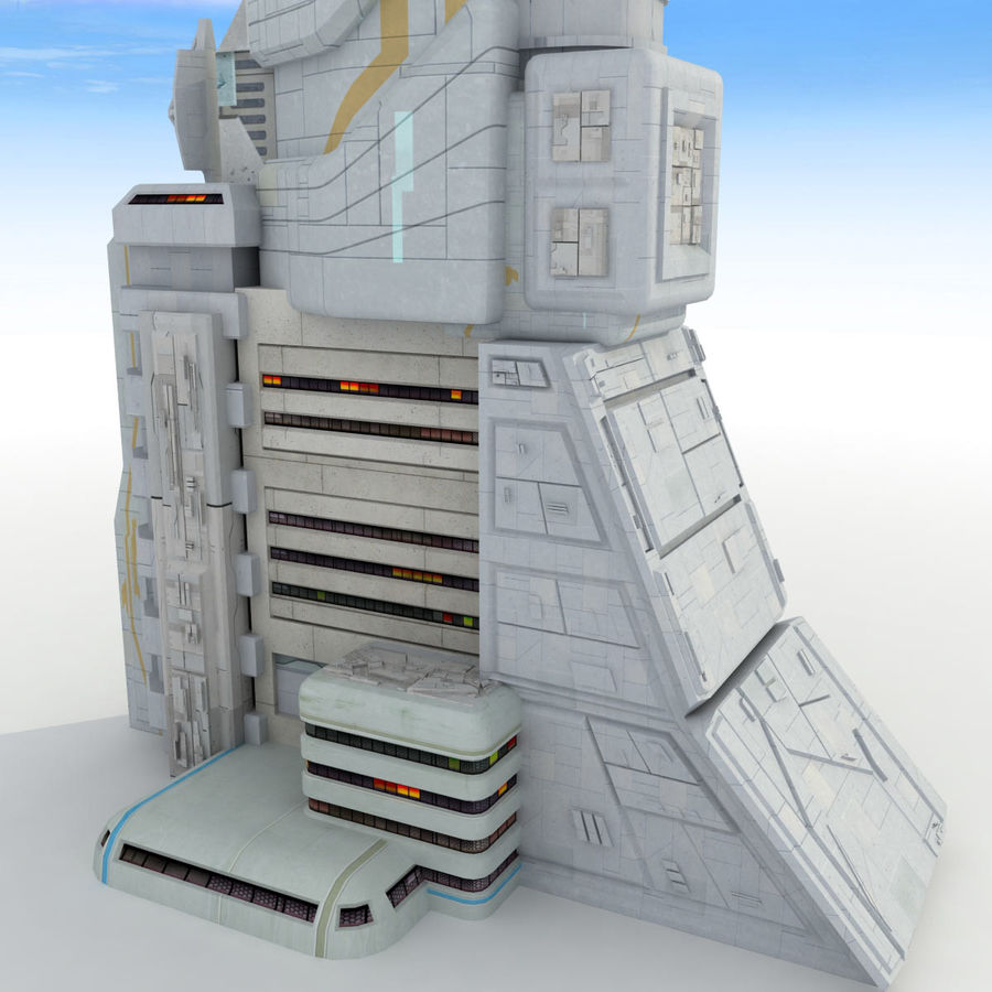 Sci Fi Building Futuristic Tower royalty-free 3d model - Preview no. 10