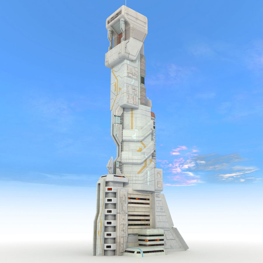 Sci Fi Building Futuristic Tower royalty-free 3d model - Preview no. 3