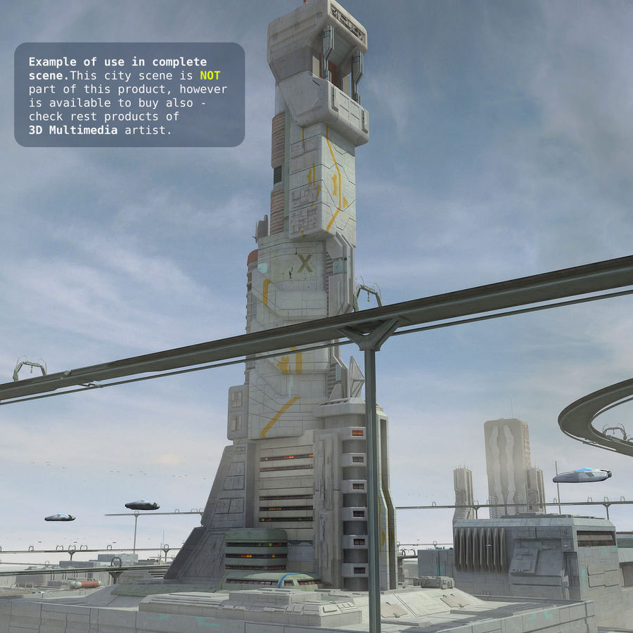 Sci Fi Building Futuristic Tower royalty-free 3d model - Preview no. 14