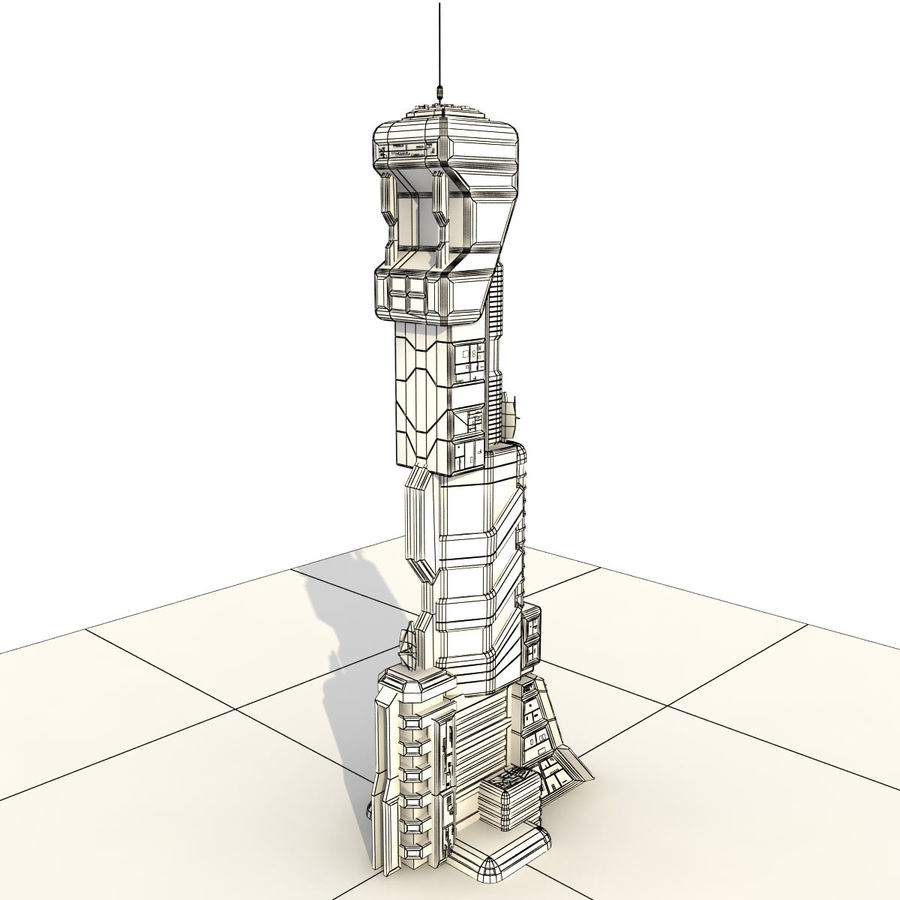 Sci Fi Building Futuristic Tower royalty-free 3d model - Preview no. 12