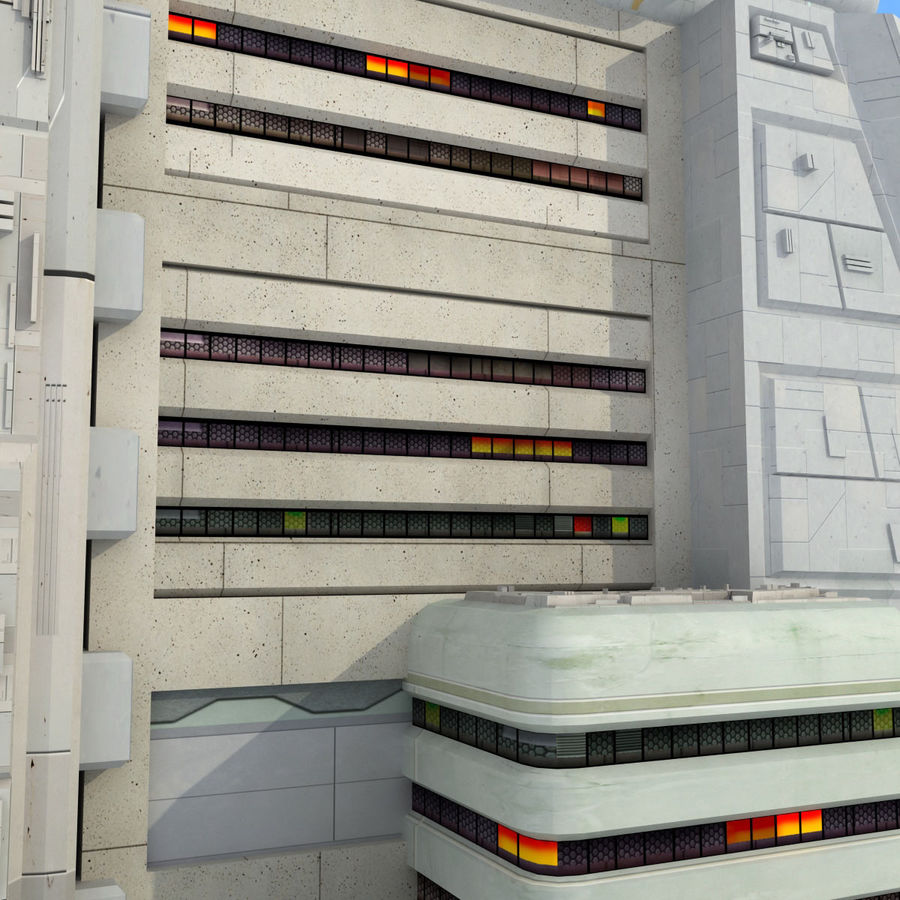 Sci Fi Building Futuristic Tower royalty-free 3d model - Preview no. 6