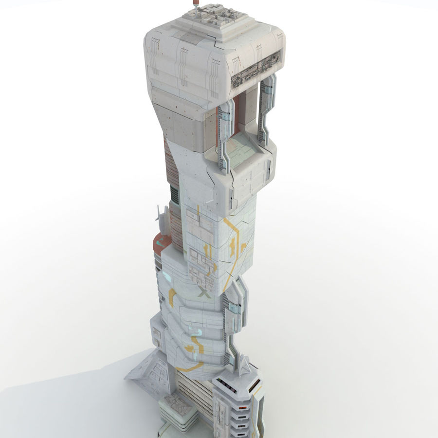 Sci Fi Building Futuristic Tower royalty-free 3d model - Preview no. 4