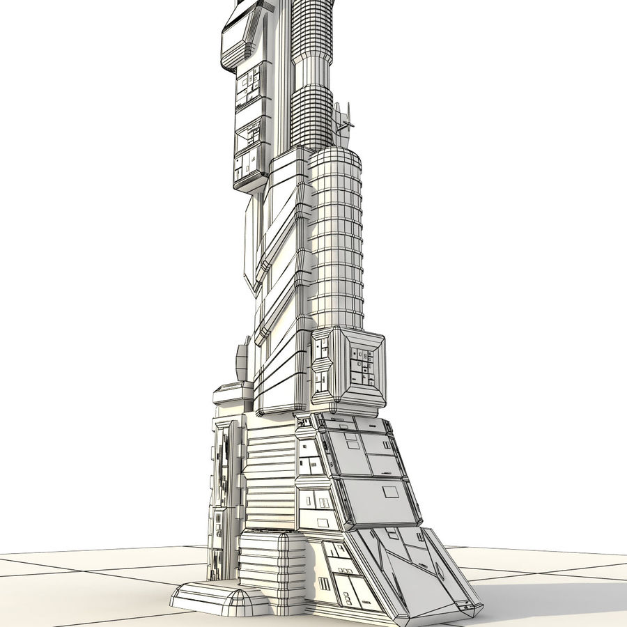 Sci Fi Building Futuristic Tower royalty-free 3d model - Preview no. 11