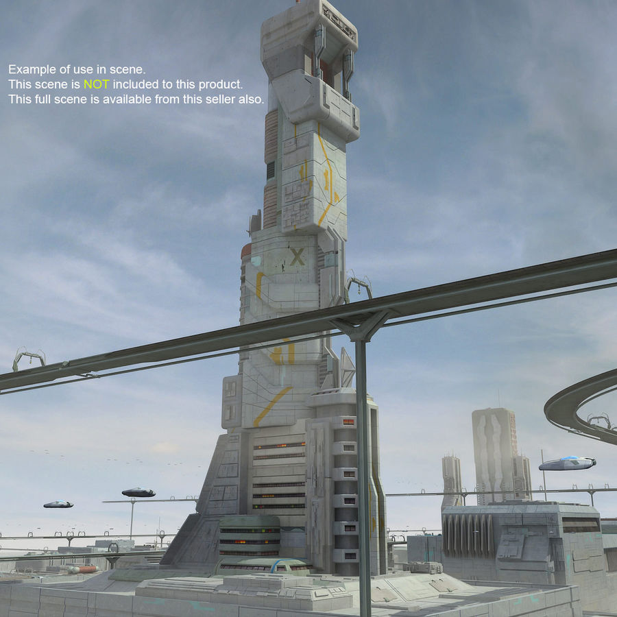 Sci Fi Building Futuristic Tower royalty-free 3d model - Preview no. 15