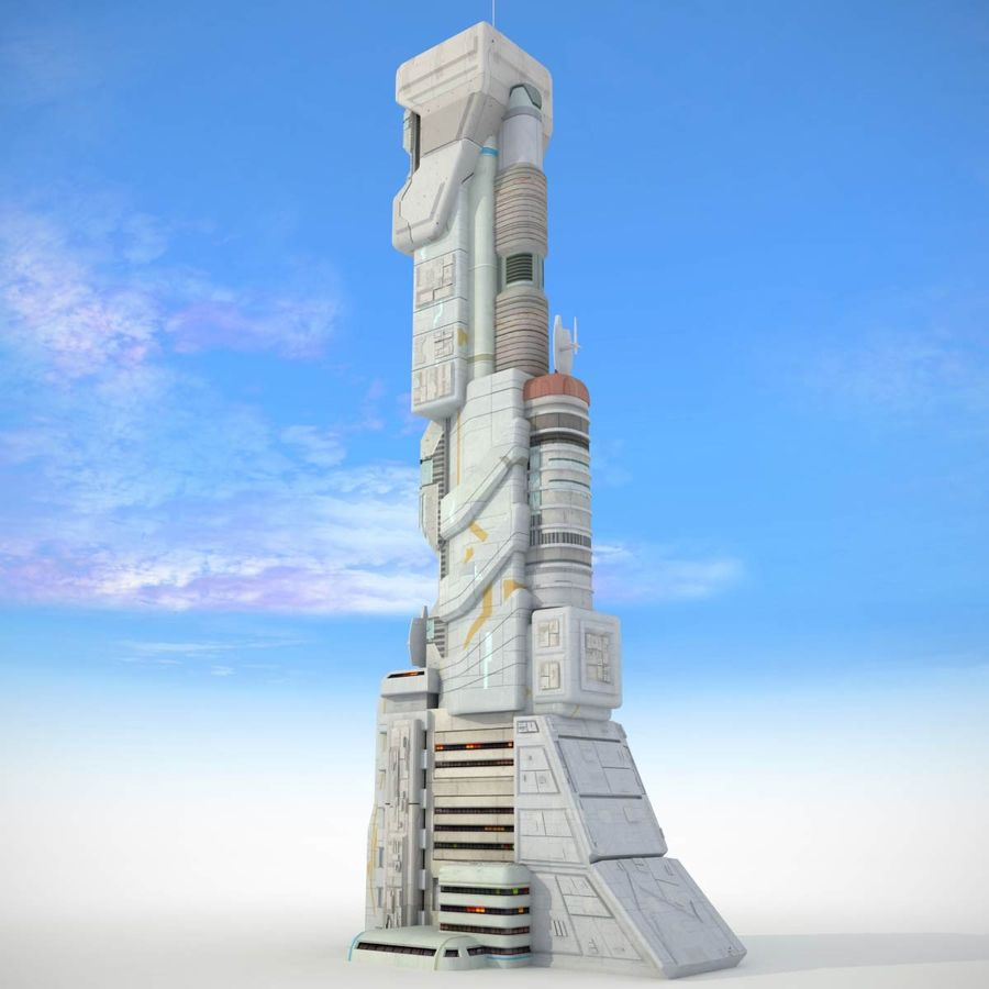 Sci Fi Building Futuristic Tower royalty-free 3d model - Preview no. 1