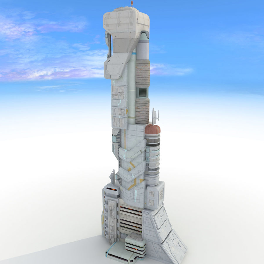 Sci Fi Building Futuristic Tower royalty-free 3d model - Preview no. 9