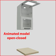 向上45厘米玻璃门的厨房家具2 3d model