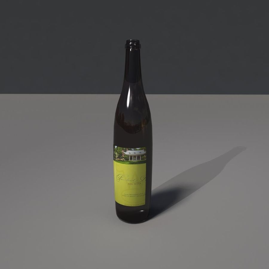 Botella de vino royalty-free modelo 3d - Preview no. 3