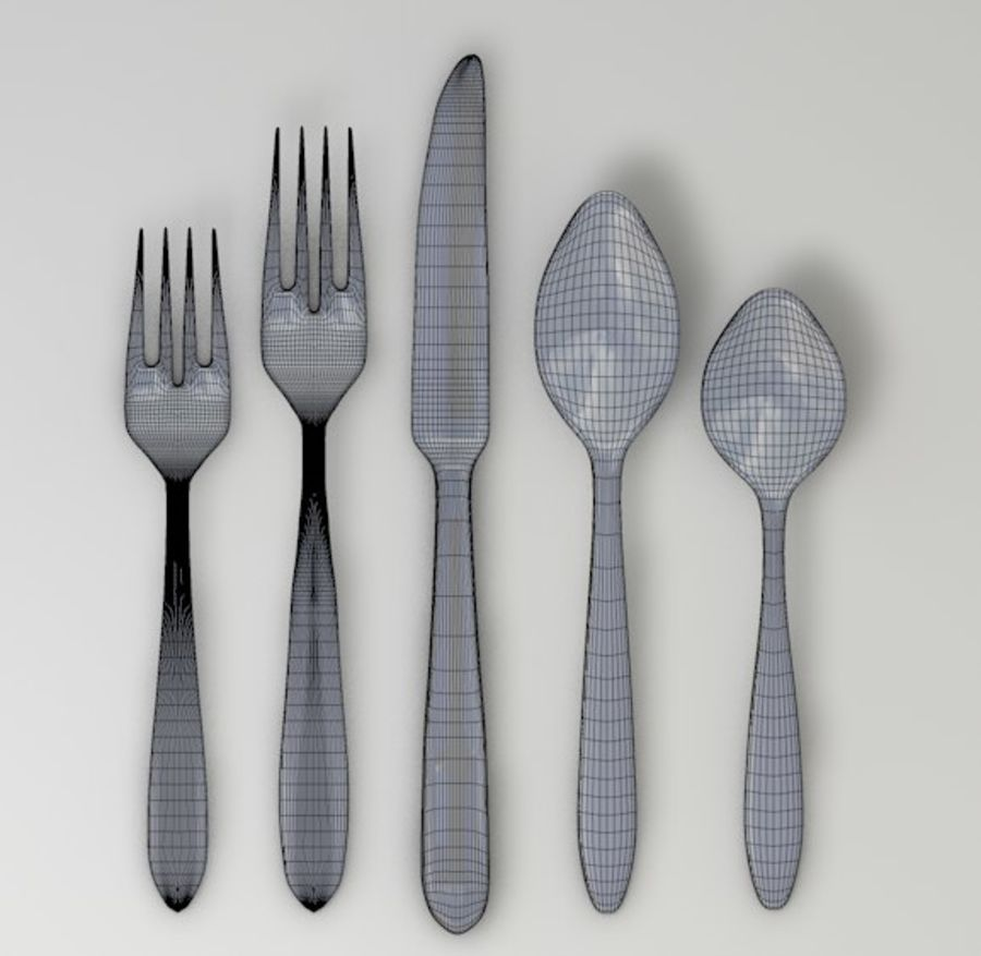 forchetta coltello cucchiaio royalty-free 3d model - Preview no. 3