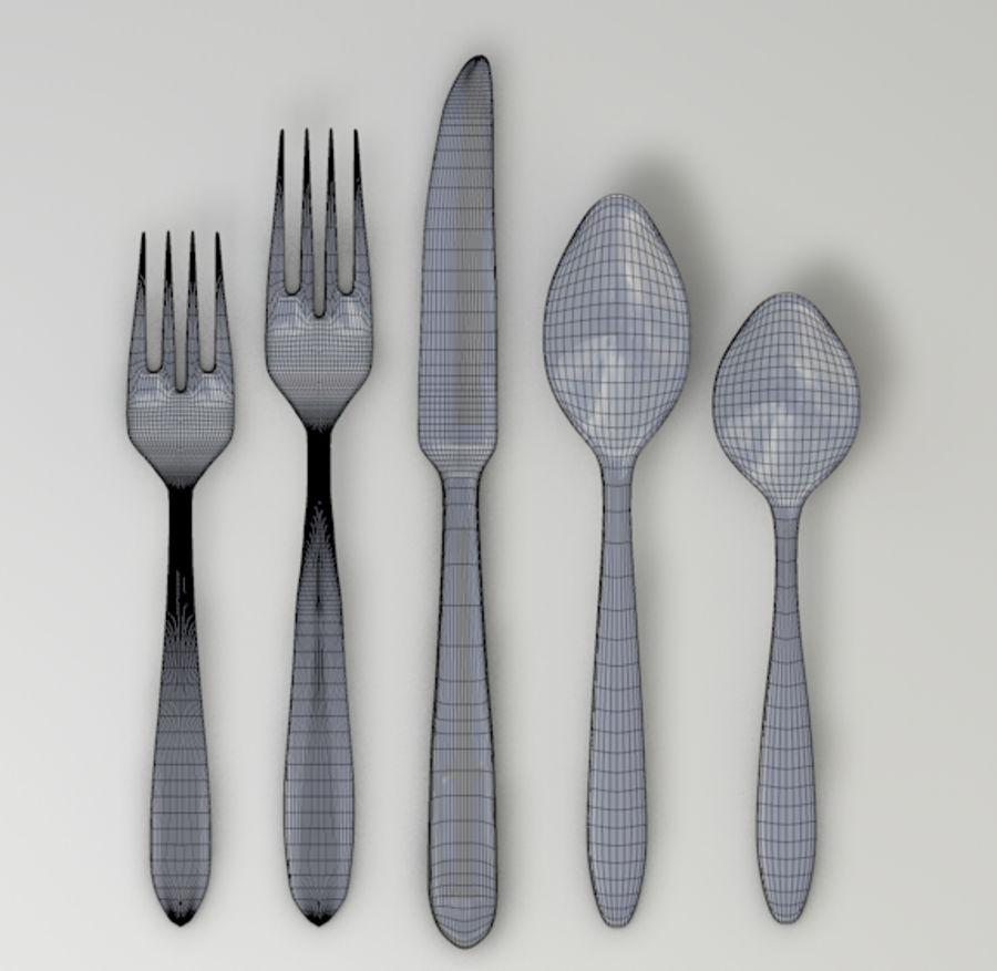 вилка, нож, ложка royalty-free 3d model - Preview no. 3