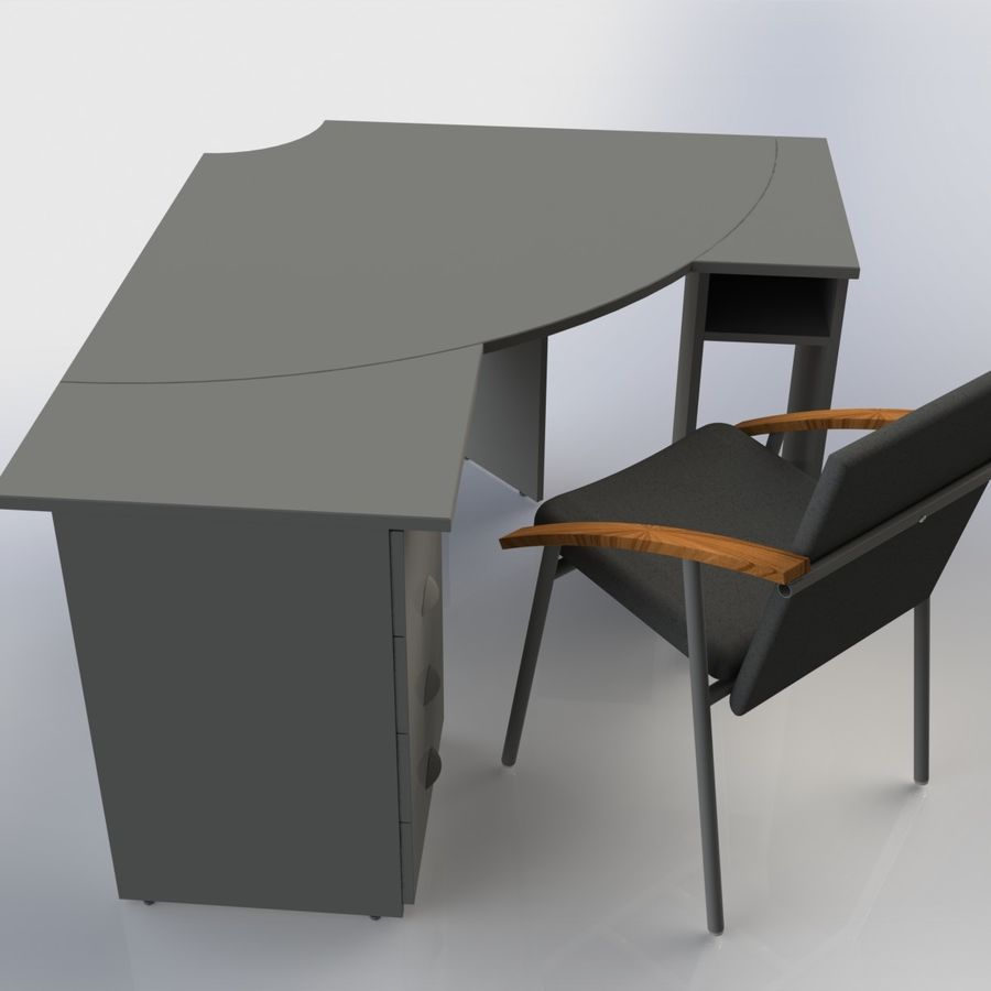 Офисная Мебель 007 royalty-free 3d model - Preview no. 2