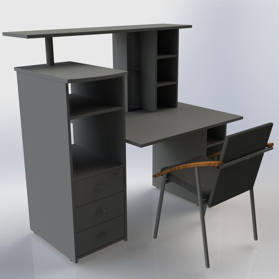 Office Furniture 005 royalty-free 3d model - Preview no. 3