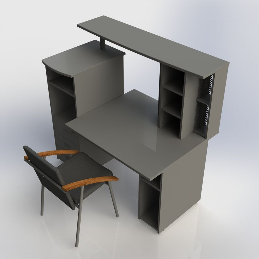 Office Furniture 005 royalty-free 3d model - Preview no. 1