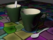 Mug and spoon 3d model