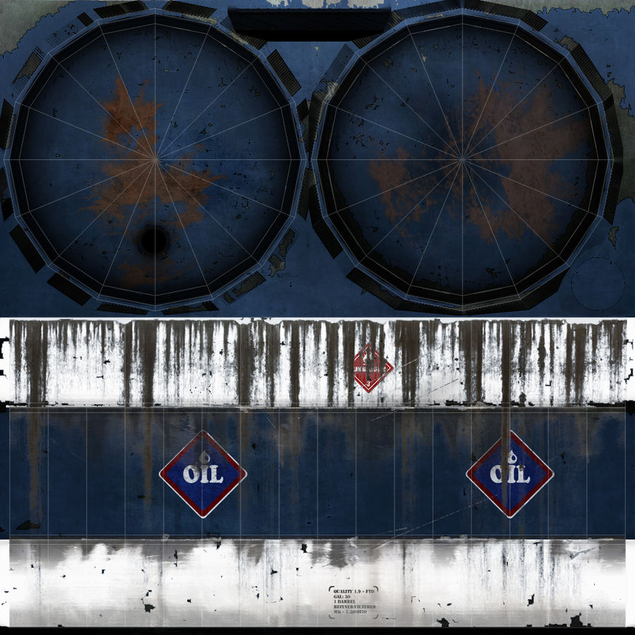 Olievat, olievat, oud. Spel klaar! royalty-free 3d model - Preview no. 7