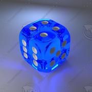 Dés en verre bleu 3d model