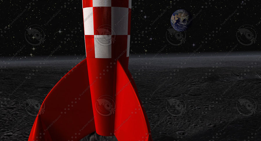 Rocket Tintin animated parts royalty-free 3d model - Preview no. 6