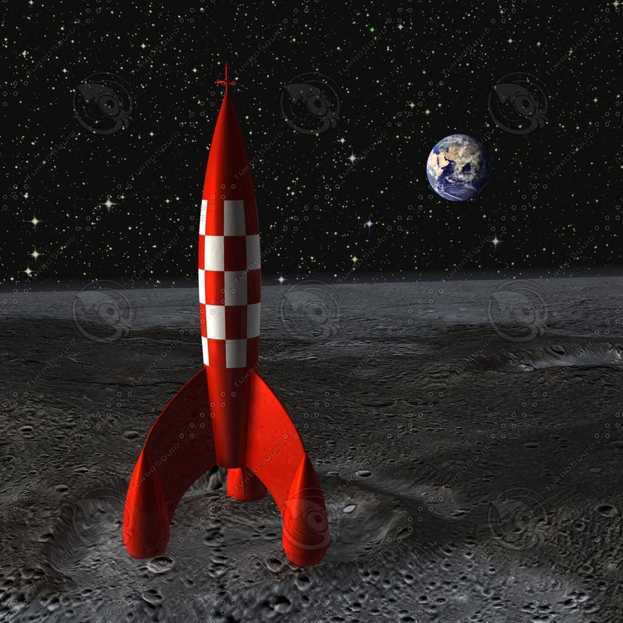 Rocket Tintin animated parts royalty-free 3d model - Preview no. 1