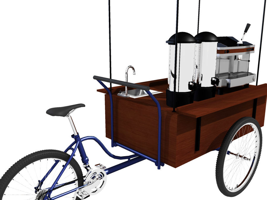 Cafe Cart royalty-free 3d model - Preview no. 2