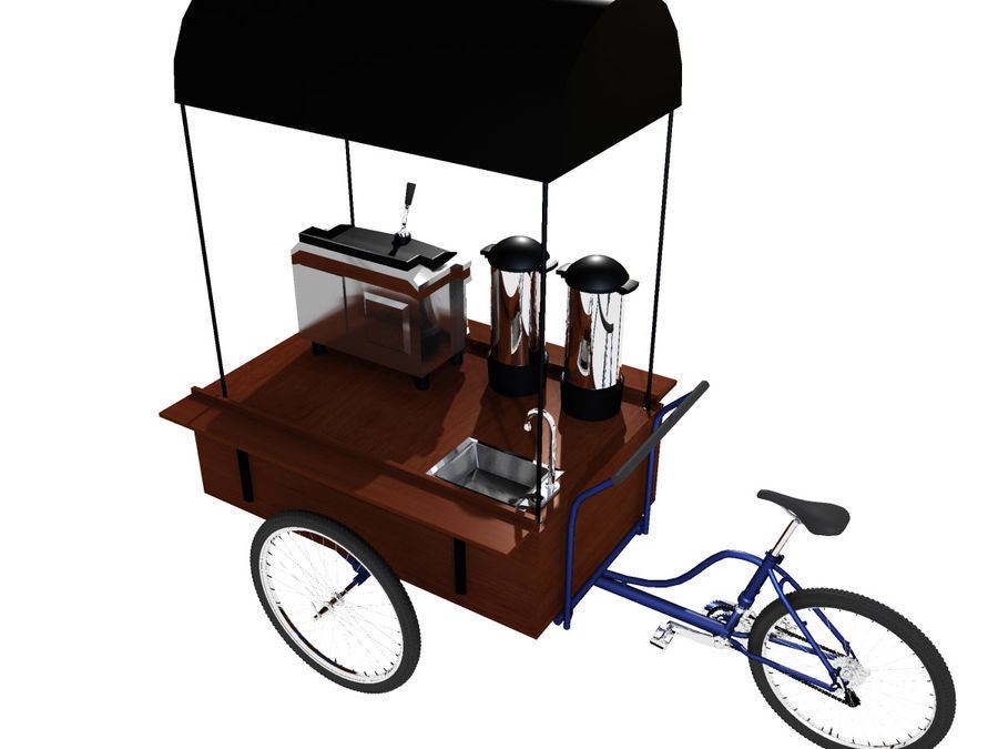 Cafe Cart royalty-free 3d model - Preview no. 1