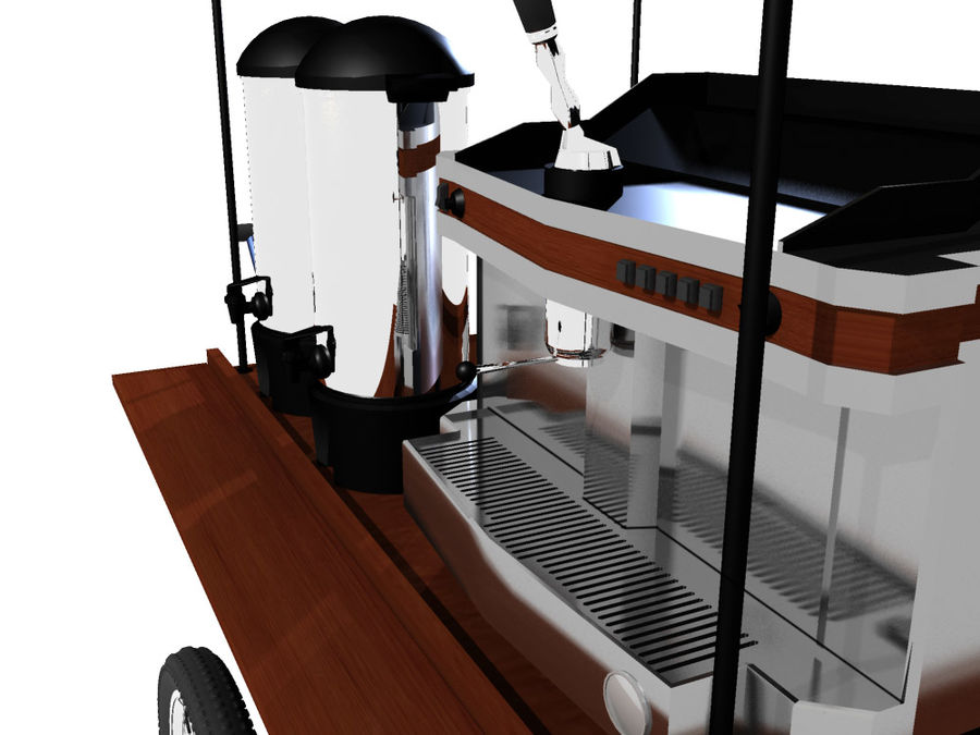Cafe Cart royalty-free 3d model - Preview no. 4