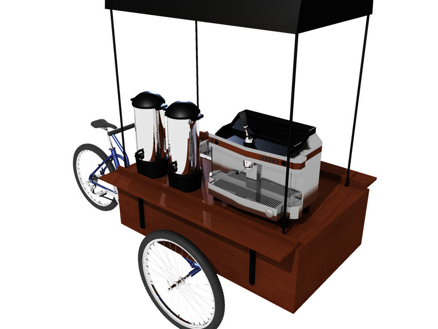 Cafe Cart royalty-free 3d model - Preview no. 3