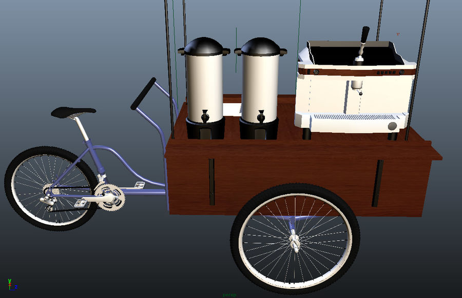 Cafe Cart royalty-free 3d model - Preview no. 5