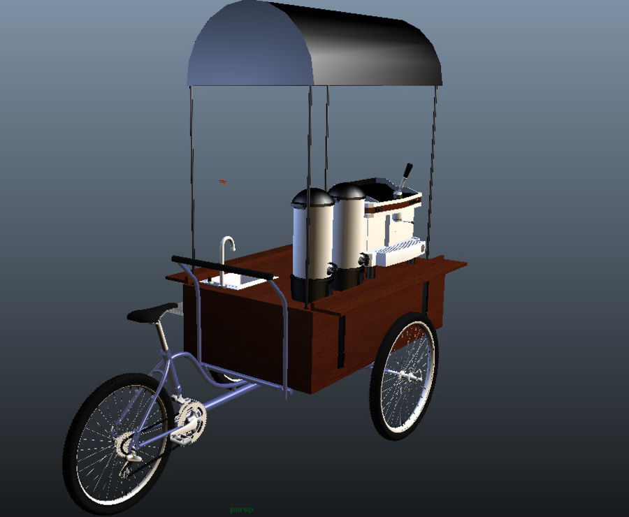 Cafe Cart royalty-free 3d model - Preview no. 9